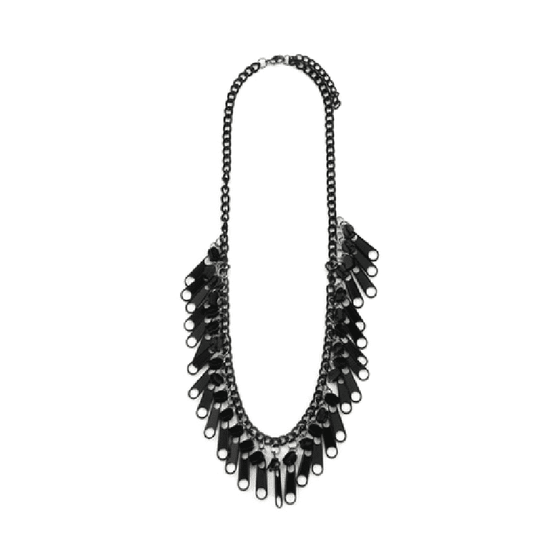 Black Iron Retro Zipper Tab Necklace
