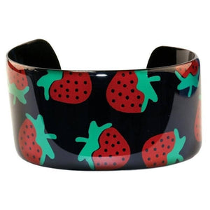 Black Strawberry Design Copper and Enamel Cuff Bangle