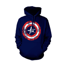 Load image into Gallery viewer, Captain America Distressed Shield Hoodie