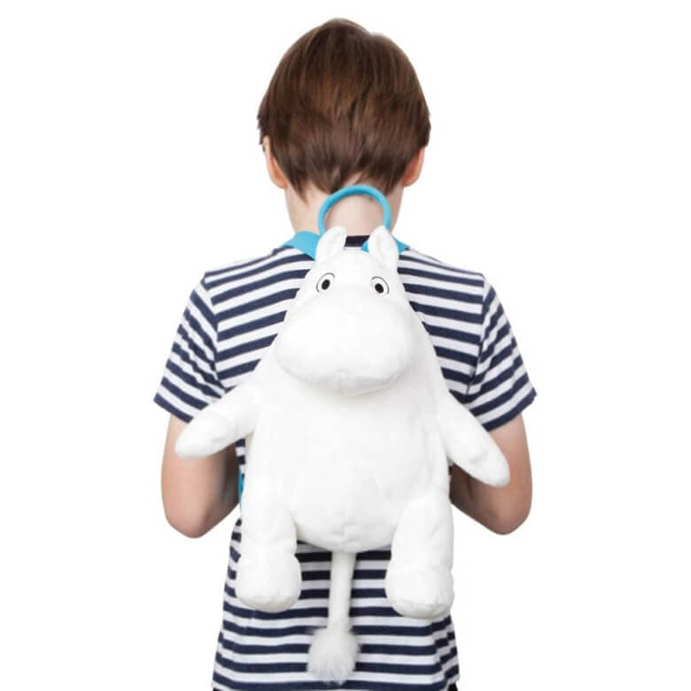 Child Model Wearing our Children's Plush Moomin Backpack