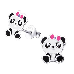 Children's Sterling Silver Panda Stud Earrings