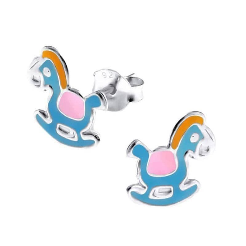 Children's Sterling Silver Rocking Horse Stud Earrings