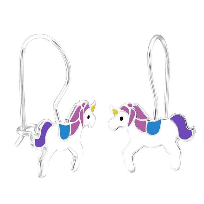 Children's Sterling Silver Unicorn Drop Earrings