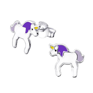 Children's Sterling Silver Unicorn Stud Earrings
