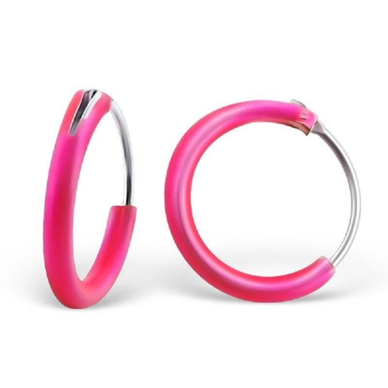 Coloured Sterling Silver 1cm Hoop Earrings