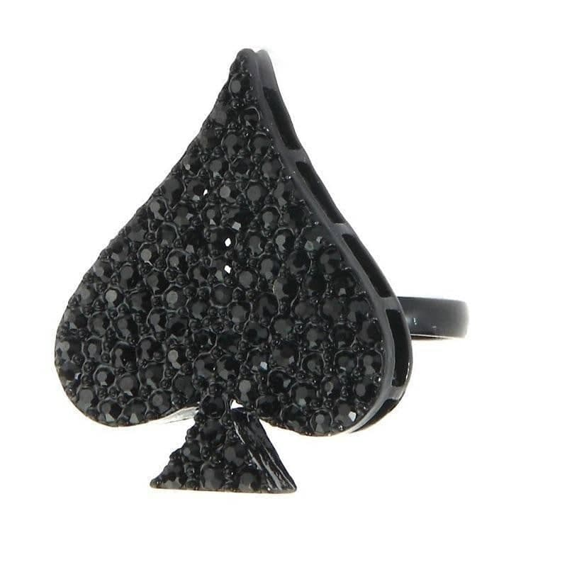 Crystal Glass and Tin Alloy Sparkly Spade Ring