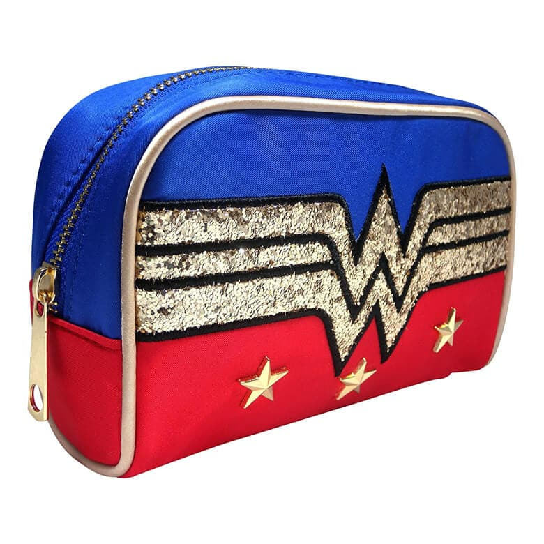 Front Side View of the DC Comics Wonder Woman Glitter Logo Make-Up Bag