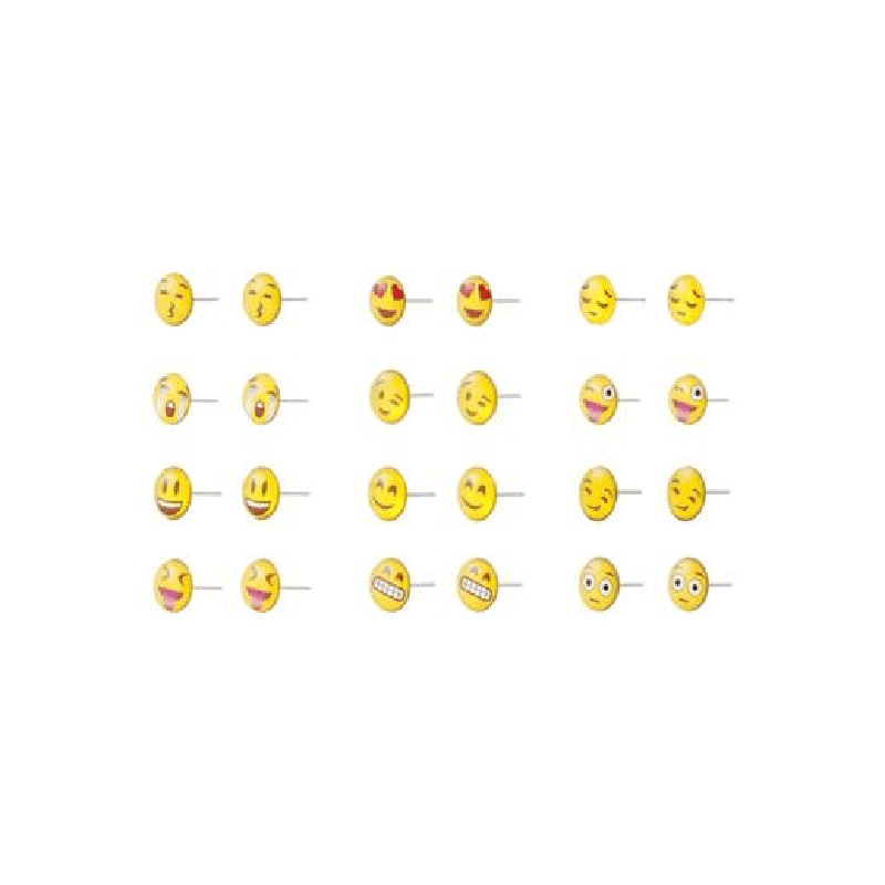 Emoji Iron and Resin Stud Earrings Set