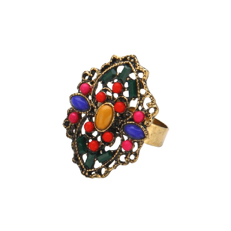 Enamel Embellished Bead Adjustable Ring