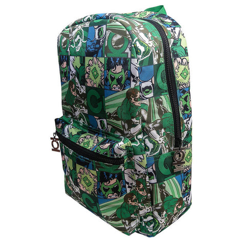 Front Side View of the Green Lantern Comic Strip Backpack