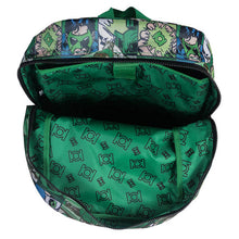 Load image into Gallery viewer, Top Open View of the Green Lantern Comic Strip Backpack