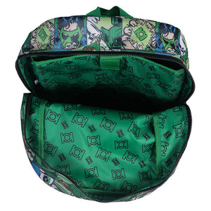 Top Open View of the Green Lantern Comic Strip Backpack
