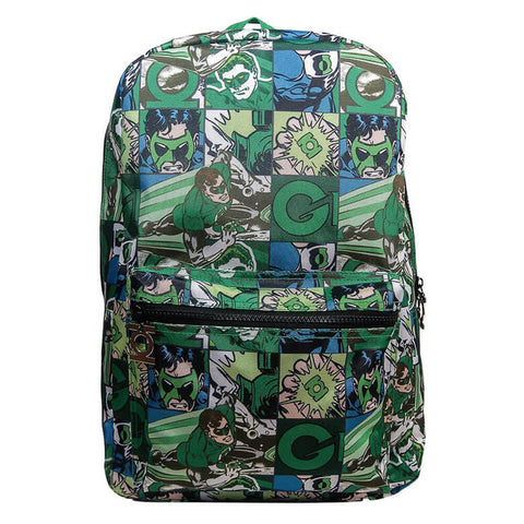 Front View of the Green Lantern Comic Strip Backpack