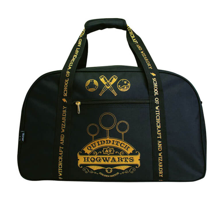 Front View of the Harry Potter Gryffindor Quidditch at Hogwarts Black Duffle Bag