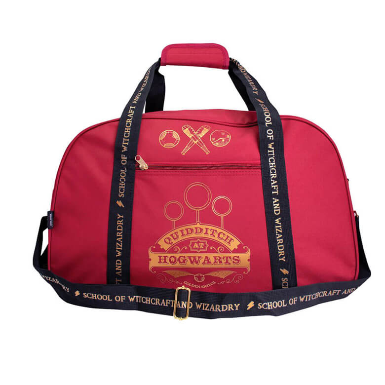 Front View of the Harry Potter Gryffindor Quidditch at Hogwarts Burgundy Duffle Bag, with shoulder strap