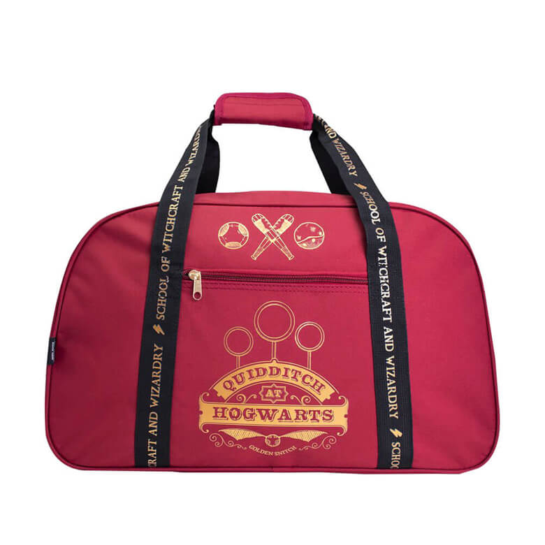 Front View of the Harry Potter Gryffindor Quidditch at Hogwarts Burgundy Duffle Bag, without shoulder strap