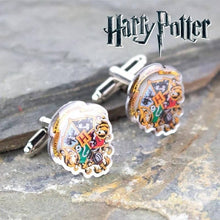 Load image into Gallery viewer, Harry Potter Hogwarts Crest Silver Plated Cufflinks