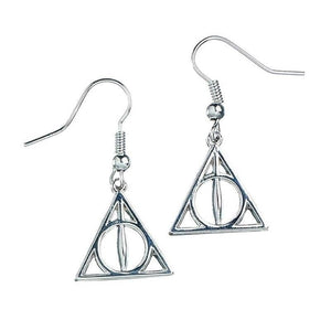 Harry Potter Silver Plated Deathly Hallows Drop Earrings