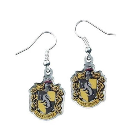 Harry Potter Silver Plated Hufflepuff Crest Drop Earrings