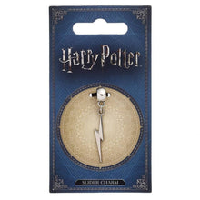 Load image into Gallery viewer, Harry Potter Silver Plated Lightning Bolt Slider Charm