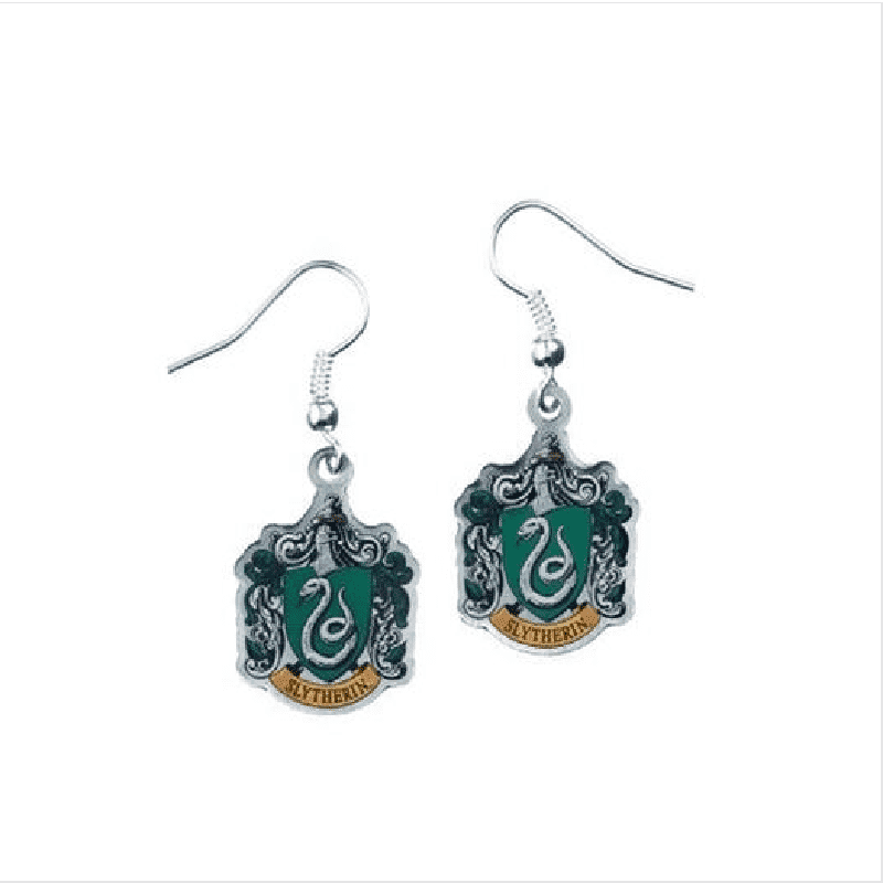 Harry Potter Silver Plated Slytherin Crest Drop Earrings