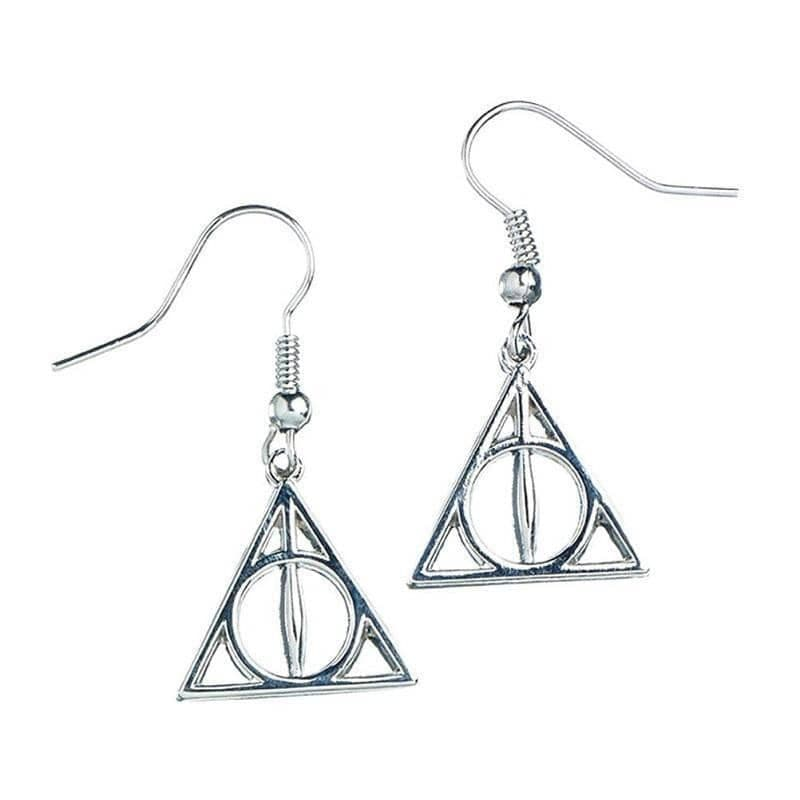 Harry Potter Sterling Silver Deathly Hallows Drop Earrings