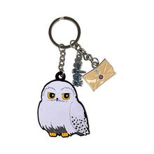 Load image into Gallery viewer, Front View of the Harry Potter Hedwig Metal Charm Keyring