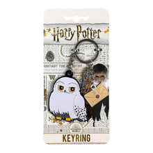 Load image into Gallery viewer, Harry Potter Hedwig Metal Charm Keyring on Harry Potter branded backing card