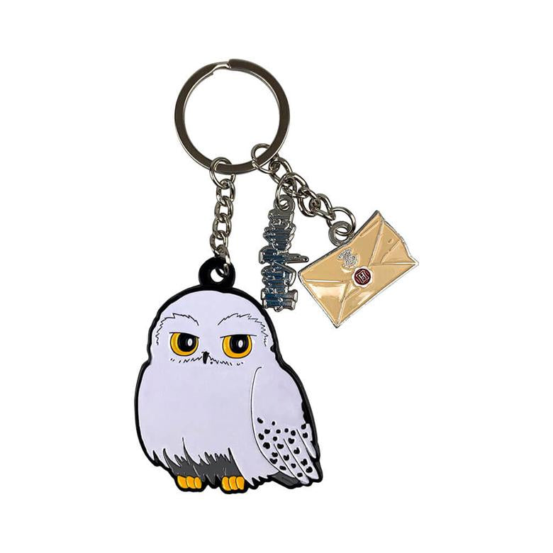 Front View of the Harry Potter Hedwig Metal Charm Keyring