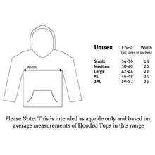 Load image into Gallery viewer, Size guide for the Star Wars Stormtrooper Head Black Hoodie