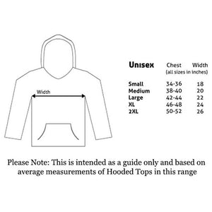 Size guide for the Star Wars Stormtrooper Head Black Hoodie