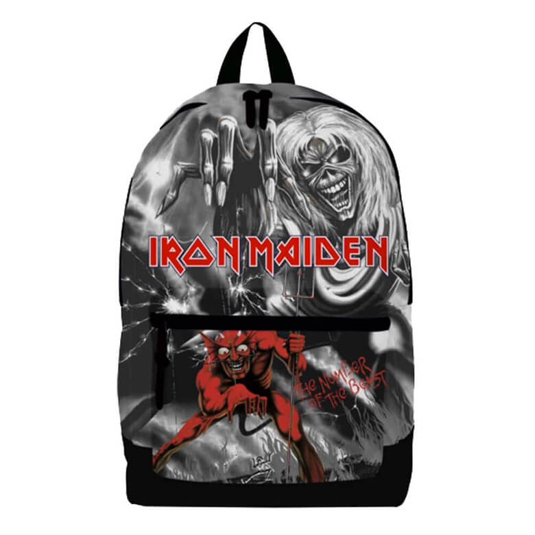 Front View of the Iron Maiden Number of the Beast Laptop Backpack