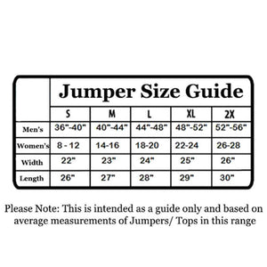 Size Guide for the Unisex Harry Potter Gryffindor Crest Knitted Christmas Jumper