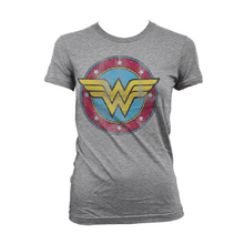 Load image into Gallery viewer, Ladies Wonder Woman Distressed Logo Grey T-Shirt