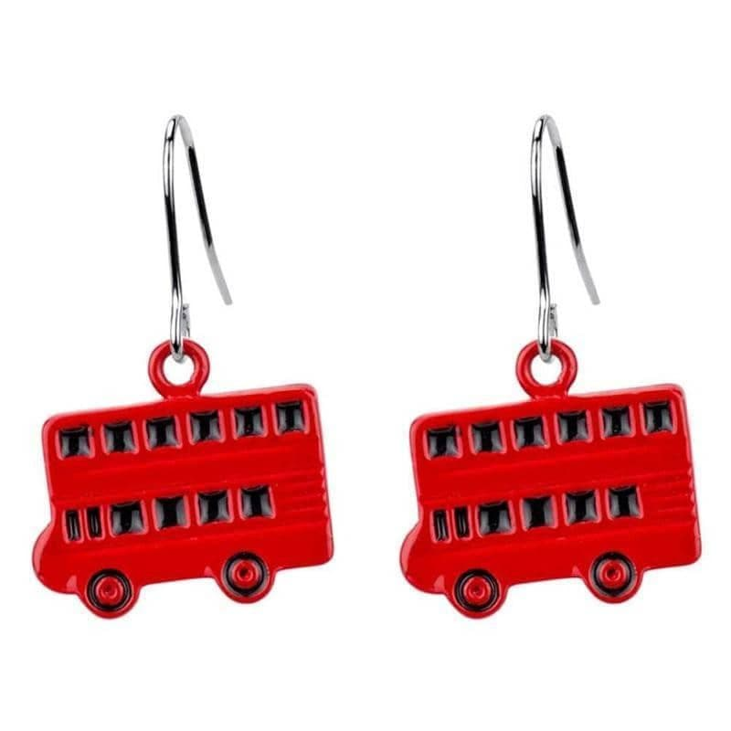 London Double Decker Bus Red Enamel Drop Earrings