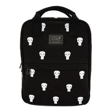 Load image into Gallery viewer, Front View of the Loungefly x Marvel Punisher Canvas Embroidered Backpack