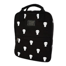 Load image into Gallery viewer, Front Side View of the Loungefly x Marvel Punisher Canvas Embroidered Backpack