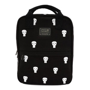 Front View of the Loungefly x Marvel Punisher Canvas Embroidered Backpack