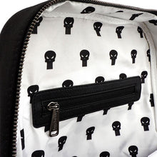 Load image into Gallery viewer, Top Inside Open View of the Loungefly x Marvel Punisher Canvas Embroidered Backpack