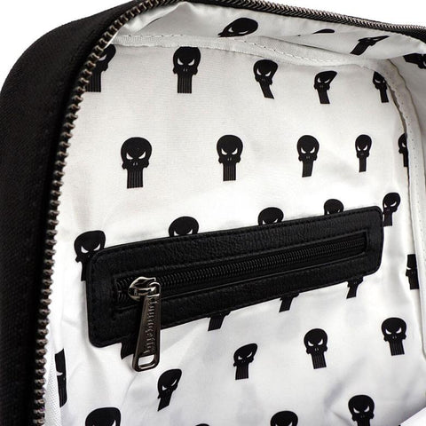 Top Inside Open View of the Loungefly x Marvel Punisher Canvas Embroidered Backpack