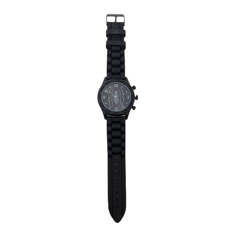 Front Outstretched View of the Marvel Spider-Man Black Logo Rubber Strap Watch