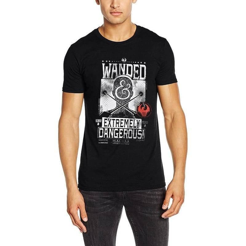 Men's Fantastic Beasts Wanded Poster Black T-Shirt