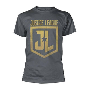 Men's Justice League Classic Shield Grey T-Shirt