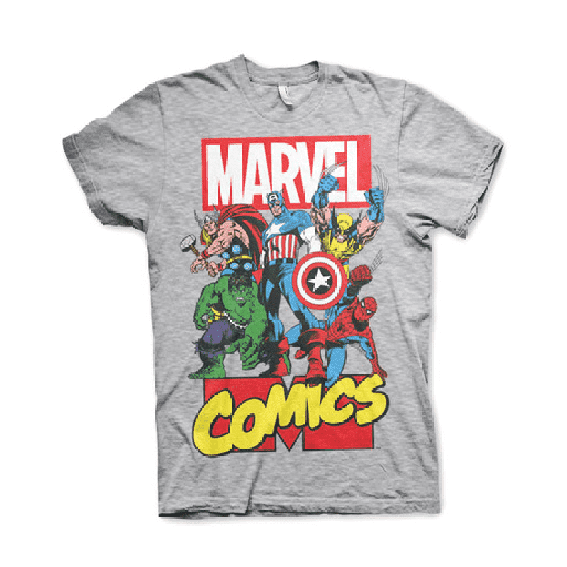 Men's Marvel Comics Superheroes Grey T-Shirt