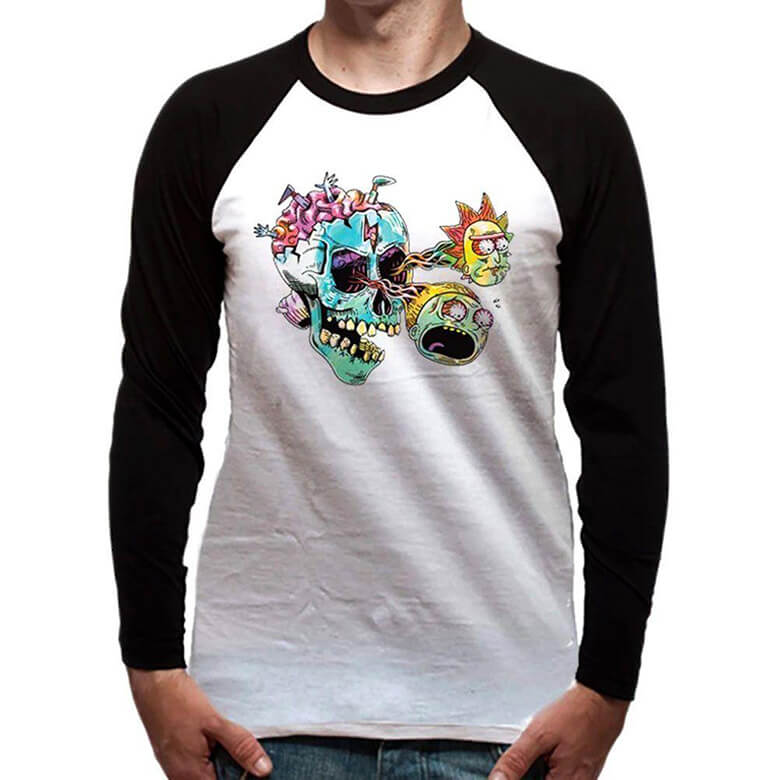 Male model wearing the Rick and Morty Skull Eyes Long Sleeve Top - Front View