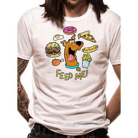 Male model wearing the Scooby Doo Feed Me White T-Shirt - Front View