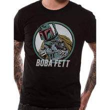 Load image into Gallery viewer, Male model wearing the Star Wars Retro Boba Fett Black T-Shirt - Front View
