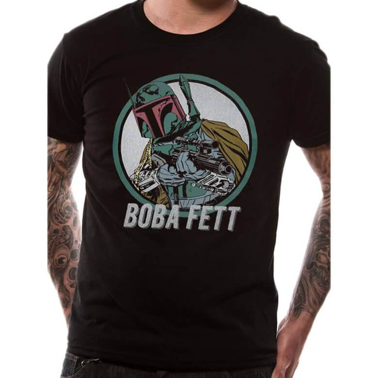 Male model wearing the Star Wars Retro Boba Fett Black T-Shirt - Front View