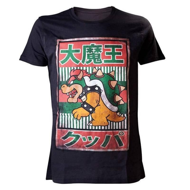 Men's Super Mario Bros. Black Bowser Kanji T-Shirt
