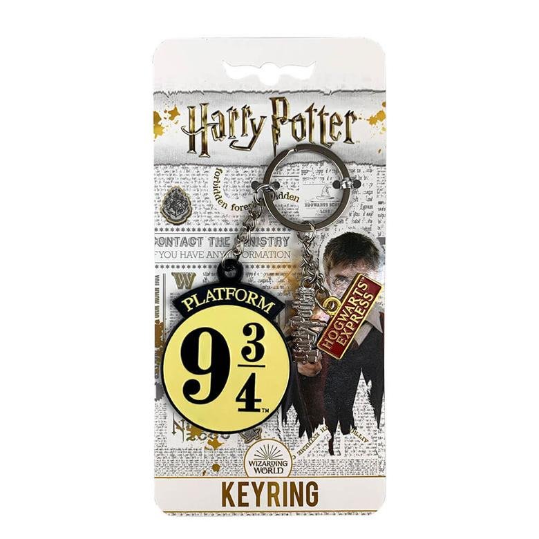 Platform 9 3/4 Metal Charm Keyring on Official Harry Potter branded backing card
